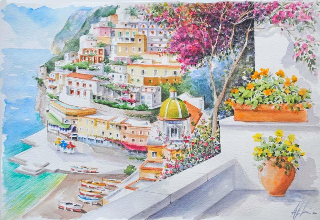 Angeloni-acquerello 04-terrazzo-fiorito