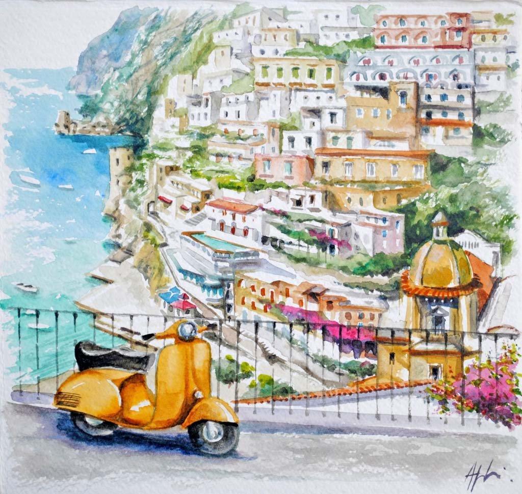 Angeloni-acquerello 05-vespa-gialla