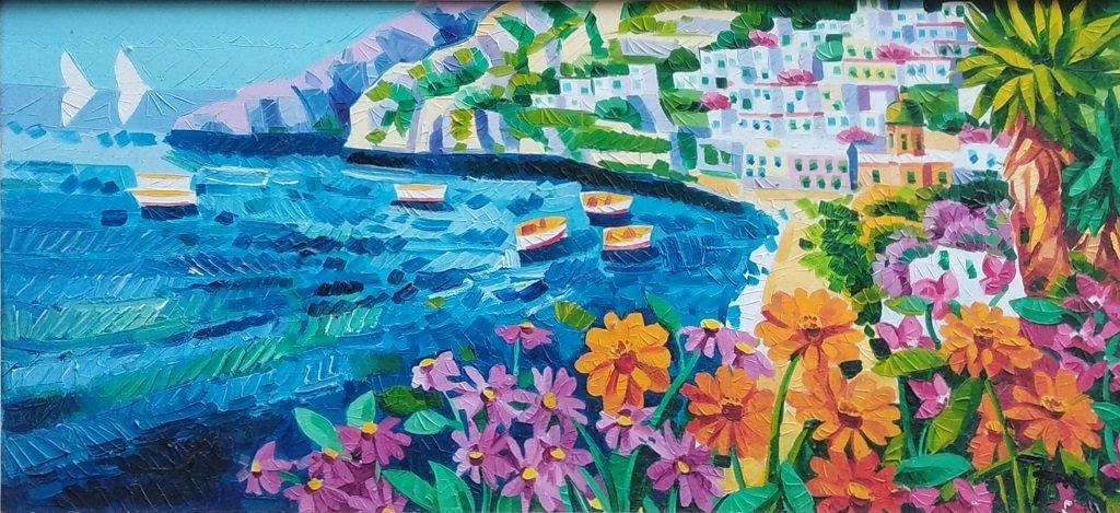 Faccincani: Olio, paesaggio, 30x70 cm