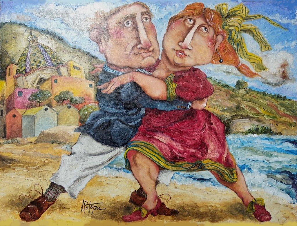 Potenza: Tango Olio Su Tela Cm 30x40