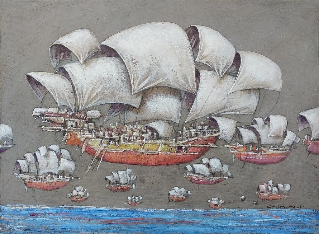 Ravaioli: Barche, Olio su Tavola Cm 30x40